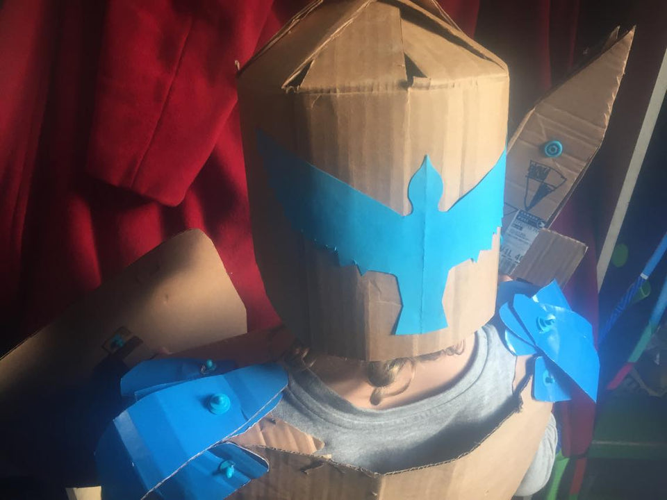 Makedo construction system Cardboard knight costume