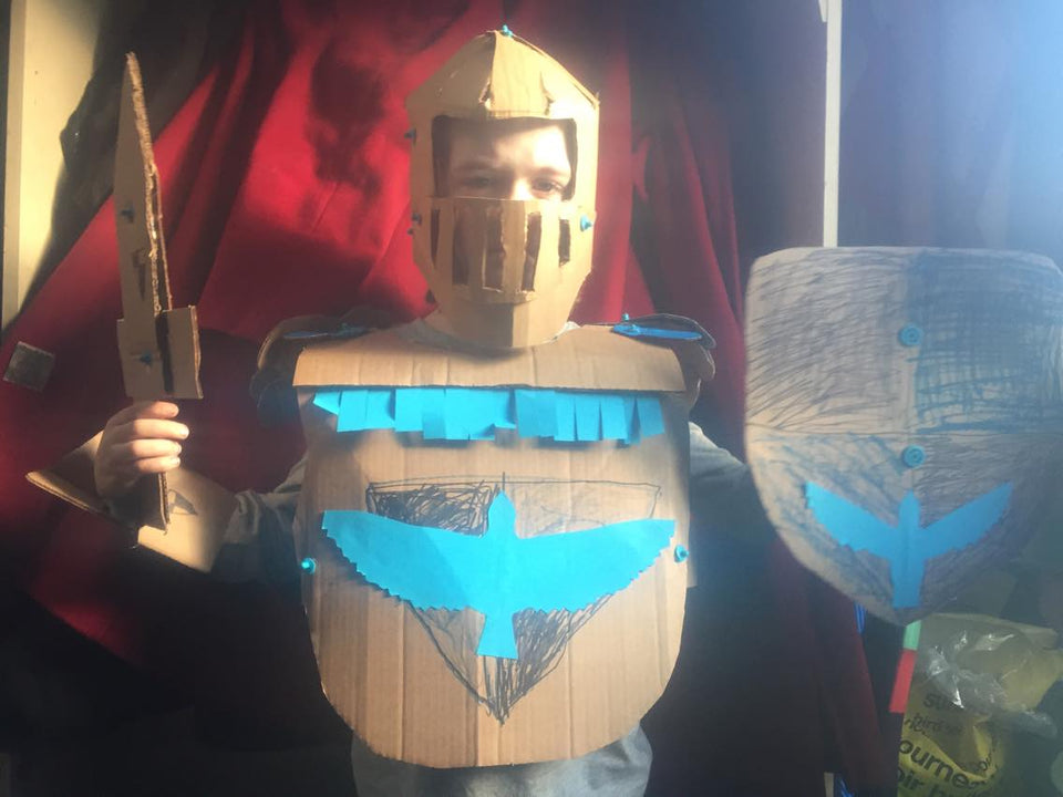 Makedo cardboard construction system Knight costume