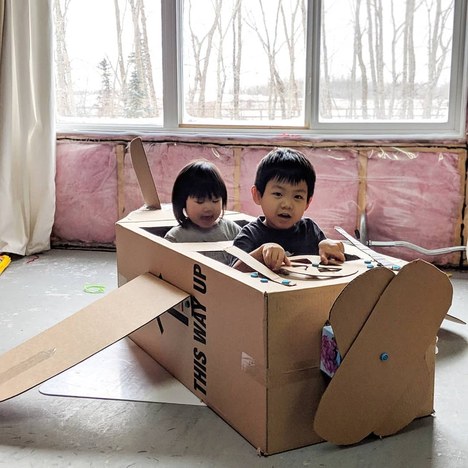 Cardboard plane made with Makedo