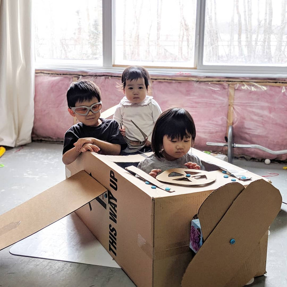 Cardboard plane using Makedo cardboard construction system