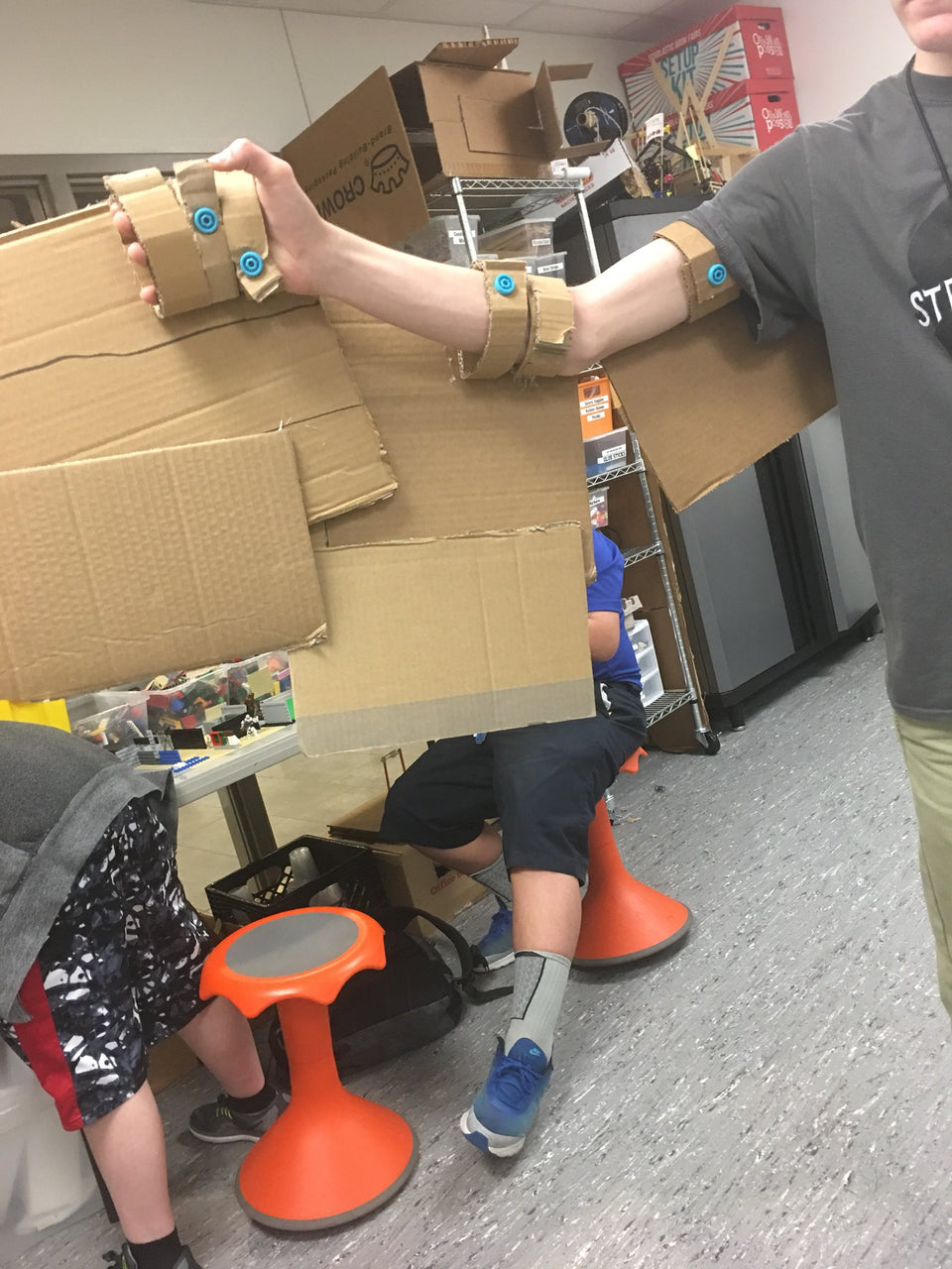 Making of Makedo pteradon cardboard flying dinosaur costume mrsmorgansclass