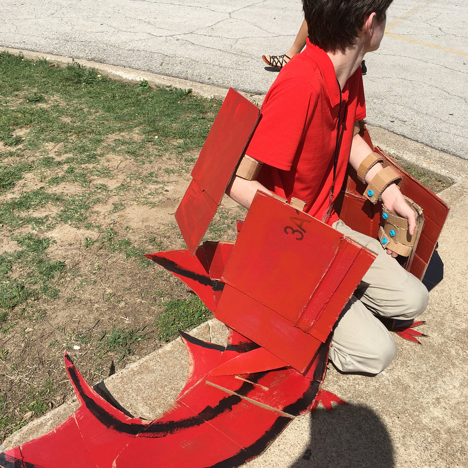 Makedo pteradon cardboard flying dinosaur costume via mrsmorgansclass