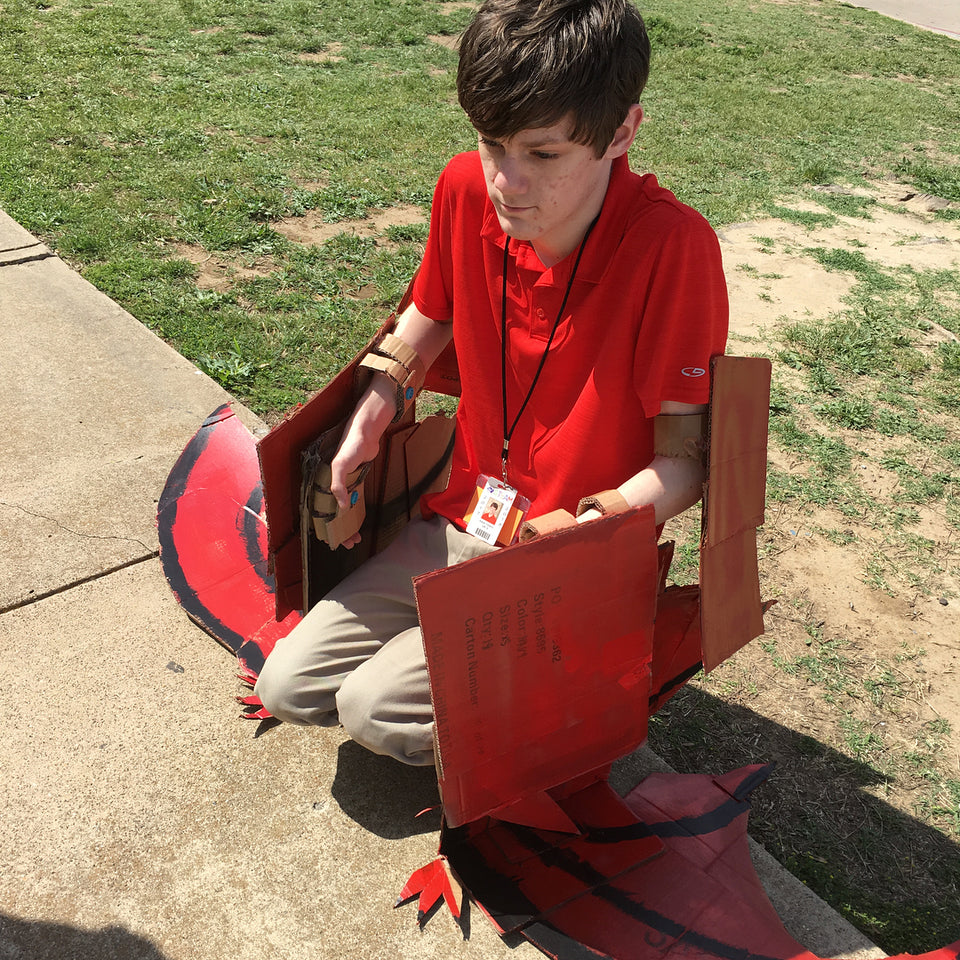 Makedo pteradon cardboard flying dinosaur costume from mrsmorgansclass