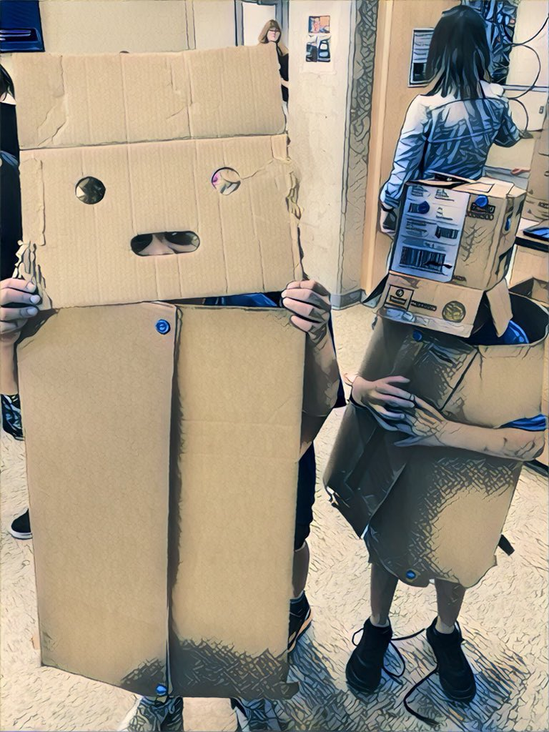 Robot costume Makedo cardboard construction via twitter jen_gilpin