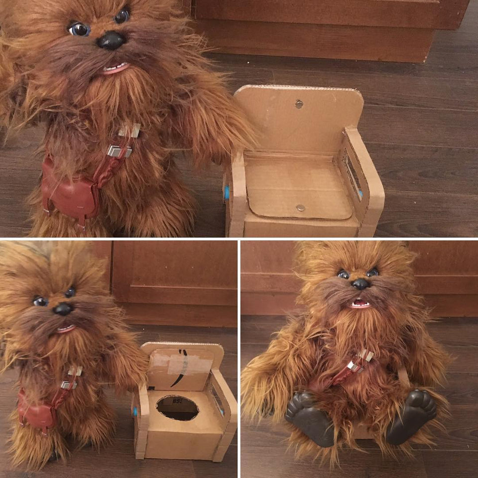 Makedo cardboard potty for Chewie Chewbacca soft toy