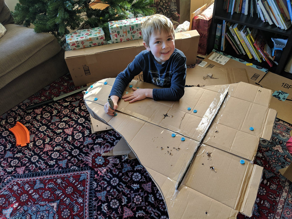 Making the cardboard space shuttle with Makedo connectors