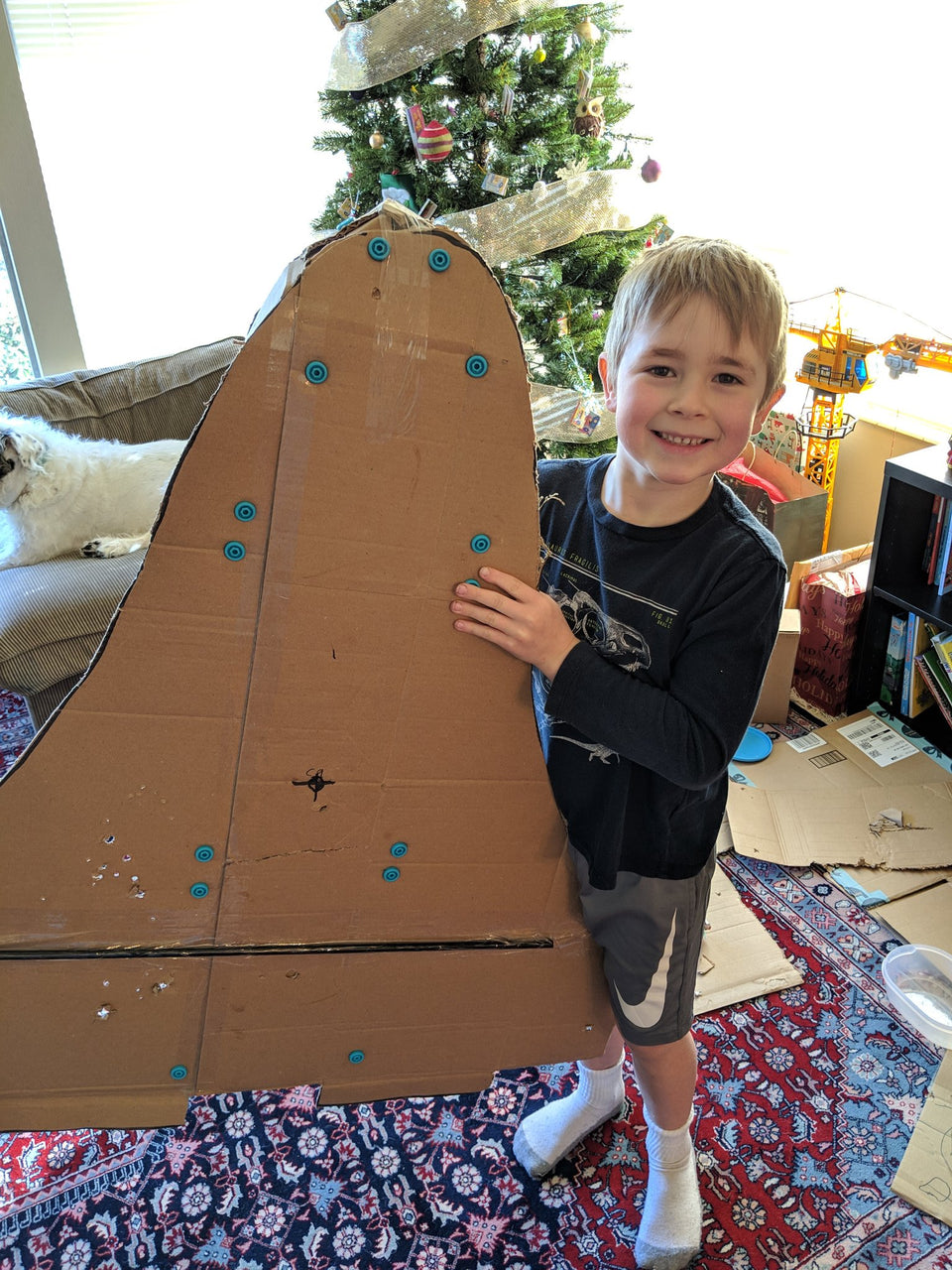 Cardboard Space Shuttle built with Makedo