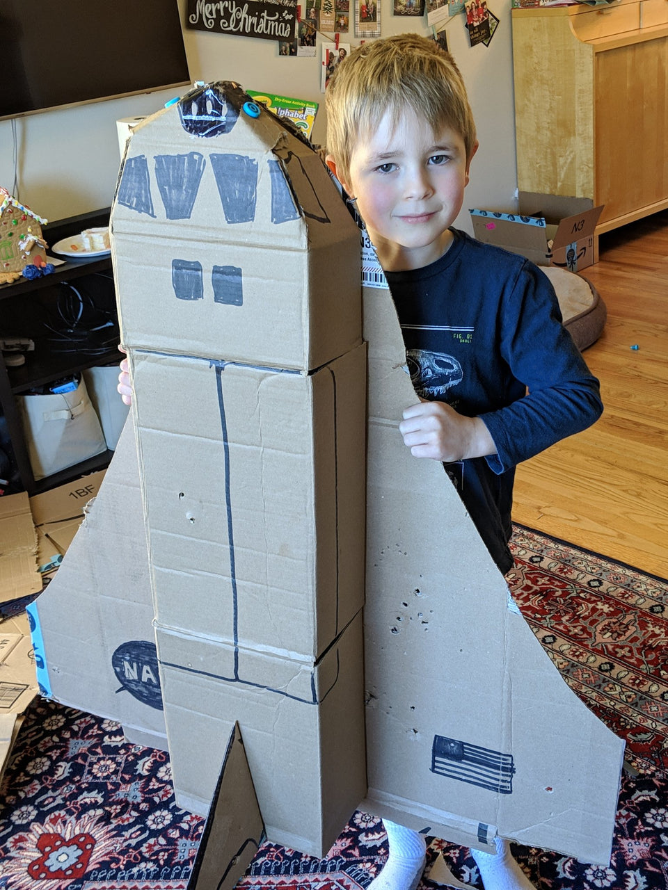Cardboard Makedo Space Shuttle ready to fly