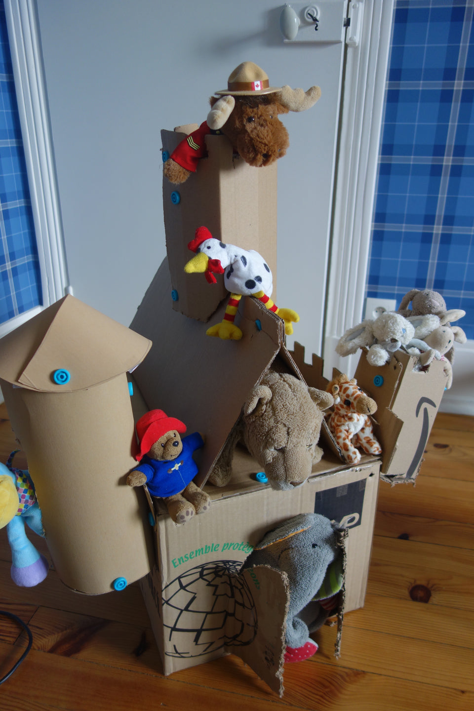 Castle for soft toys made with Makedo cardboard construction tools