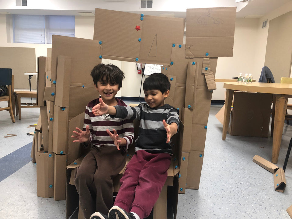 Testing the Makedo cardboard bench