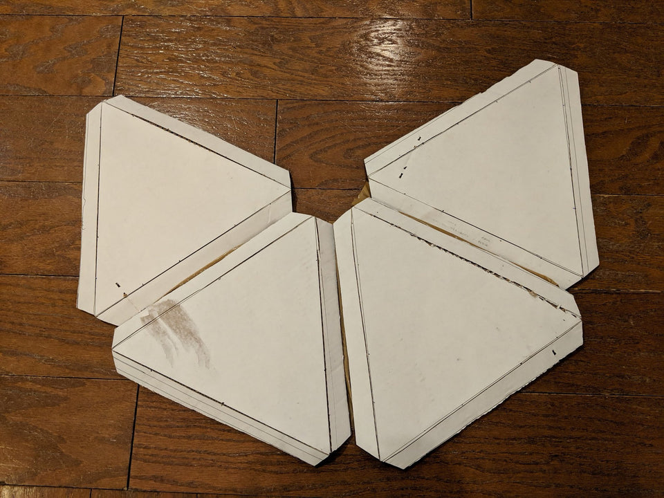 Cardboard dome panels ready for connection with Makedo