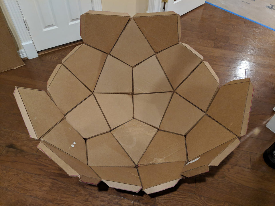 Cardboard complex geo dome using Makedo construction tools