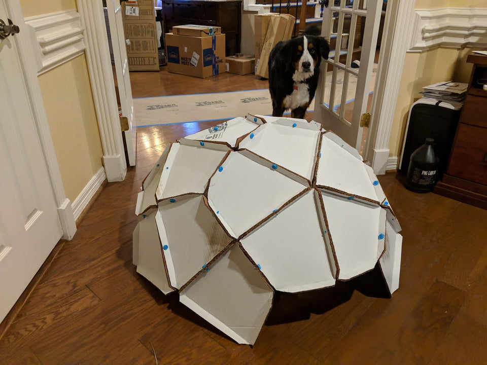 Makedo cardboard geodesic dome taking shape
