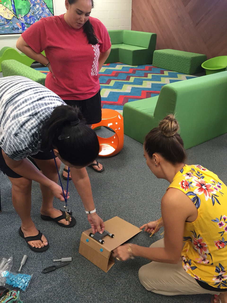 Makedo cardboard construction teacher training - building ramps