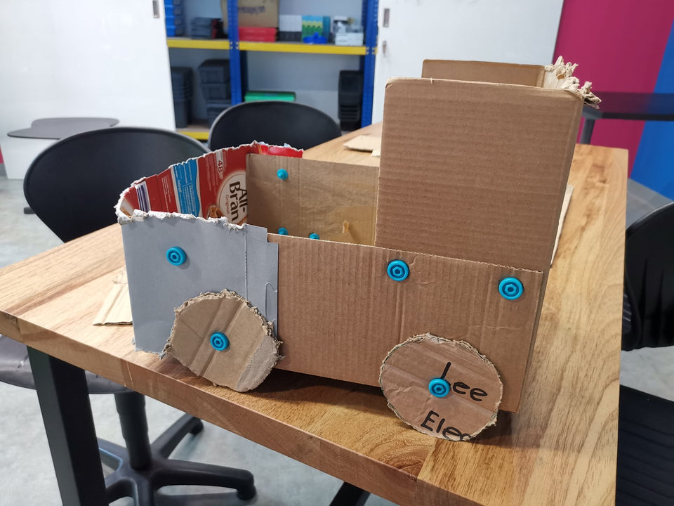 Cardboard truck by grade 3 students using Makedo cardboard construction tools.