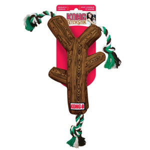KONG FETCHSTIX DOG TOY WITH ROPE BROWN