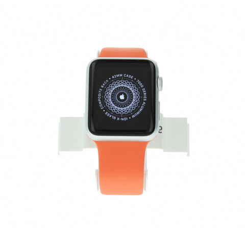 Apple Watch Sport 38mm mit Sportarmband orange aluminium silber - asgoodasnew.com - wie neu