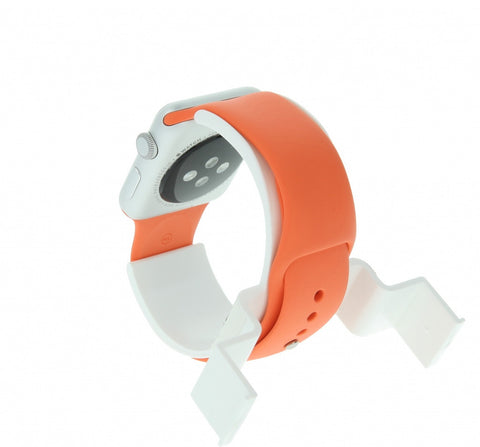 Apple Watch Sport 38mm mit Sportarmband orange aluminium silber - asgoodasnew.com - sehr gut