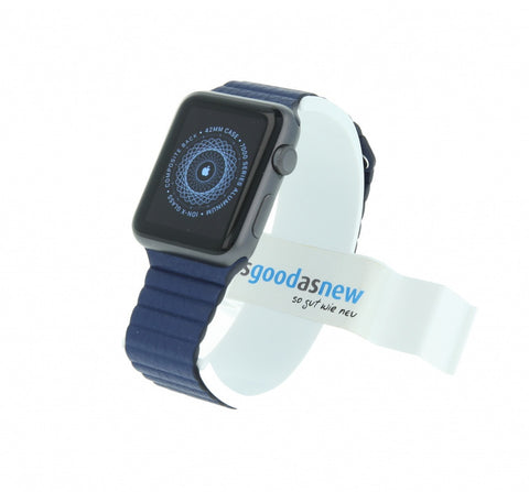 Apple Watch Sport 42mm mit Lederarmband mit Schlaufe blau aluminium spacegrau