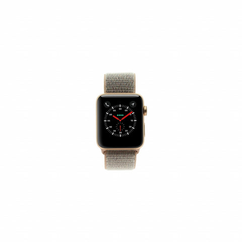 Apple Watch Series 3 Aluminiumgehäuse gold 42mm mit Sport Loop sandrosa (GPS + Cellular) aluminium gold