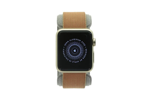 Apple Watch Sport 38mm mit Nylon-Armband orangerot (kariert) aluminium gold