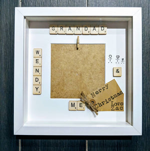 grandad scrabble tile frame with kraft from tag