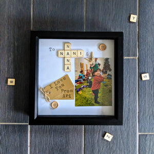 custom made scrabble photo frames, personalised with kraft tag and scrabble tiles, wooden embelishment