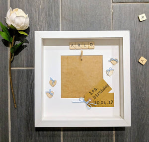 wooden heart embellished scrabble frame, kraft from tag and blue bows