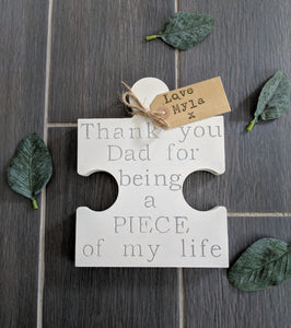freestanding wooden jigsaw piece for Dad, father's day gift with from kraft tag. Handpainted wooden gift.