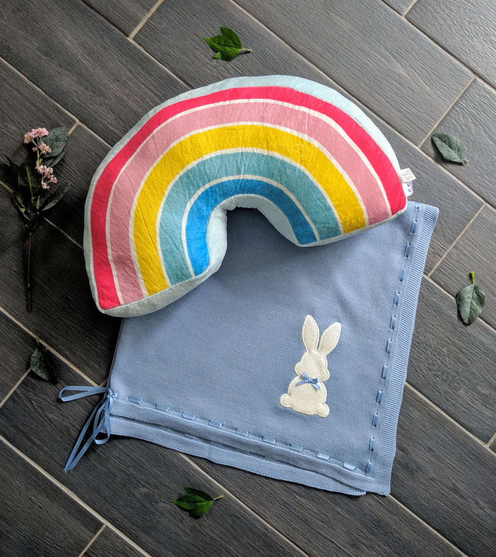 plush decorative cushion, vibrant rainbow scandi style nursery pillow