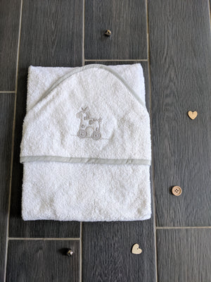 Grey hooded bath towel with embroidered motif, perfect newborn gift, baby bath towels, gingham trim
