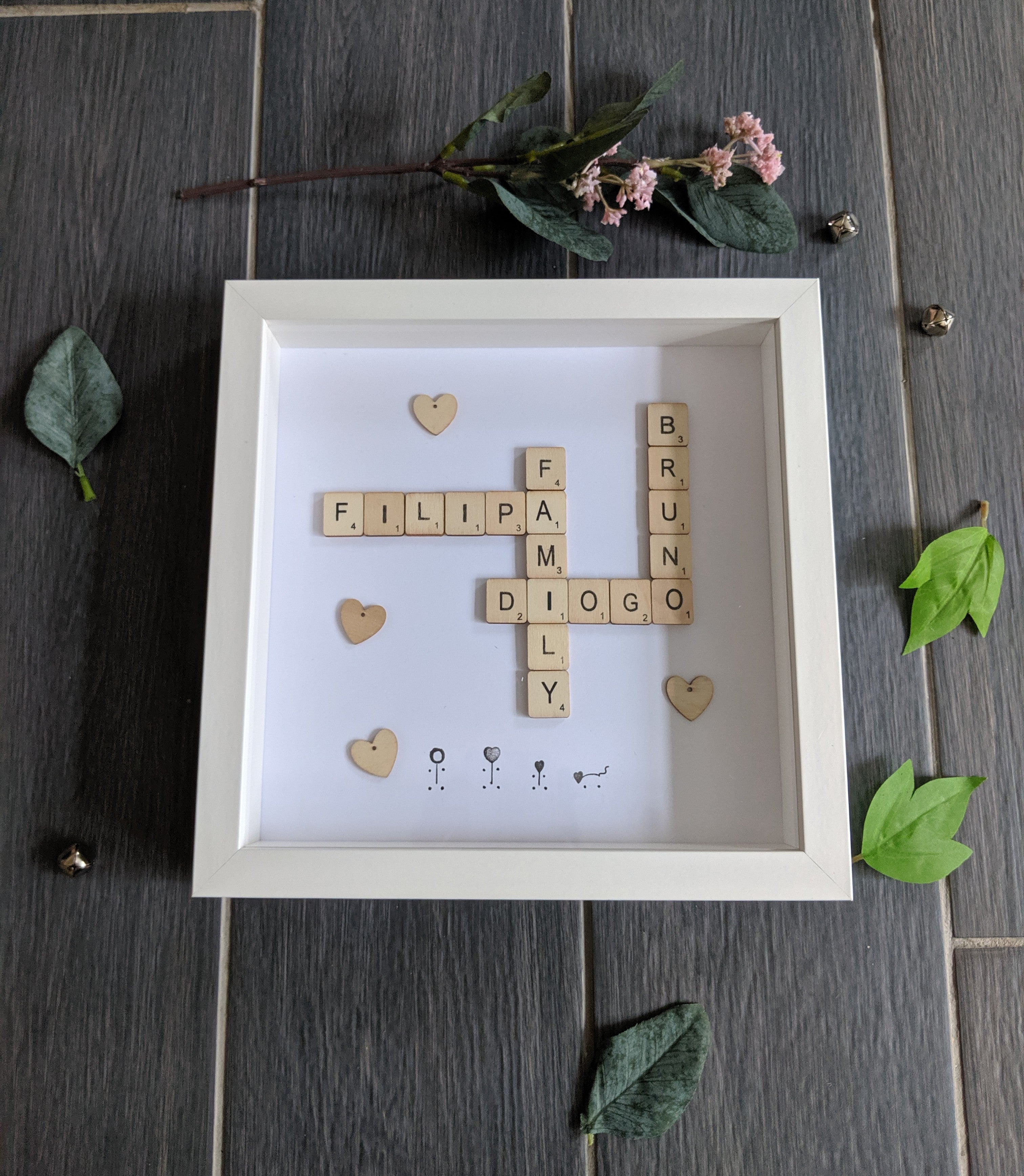 family scrabble frame available in black or white , with wooden embellishments
