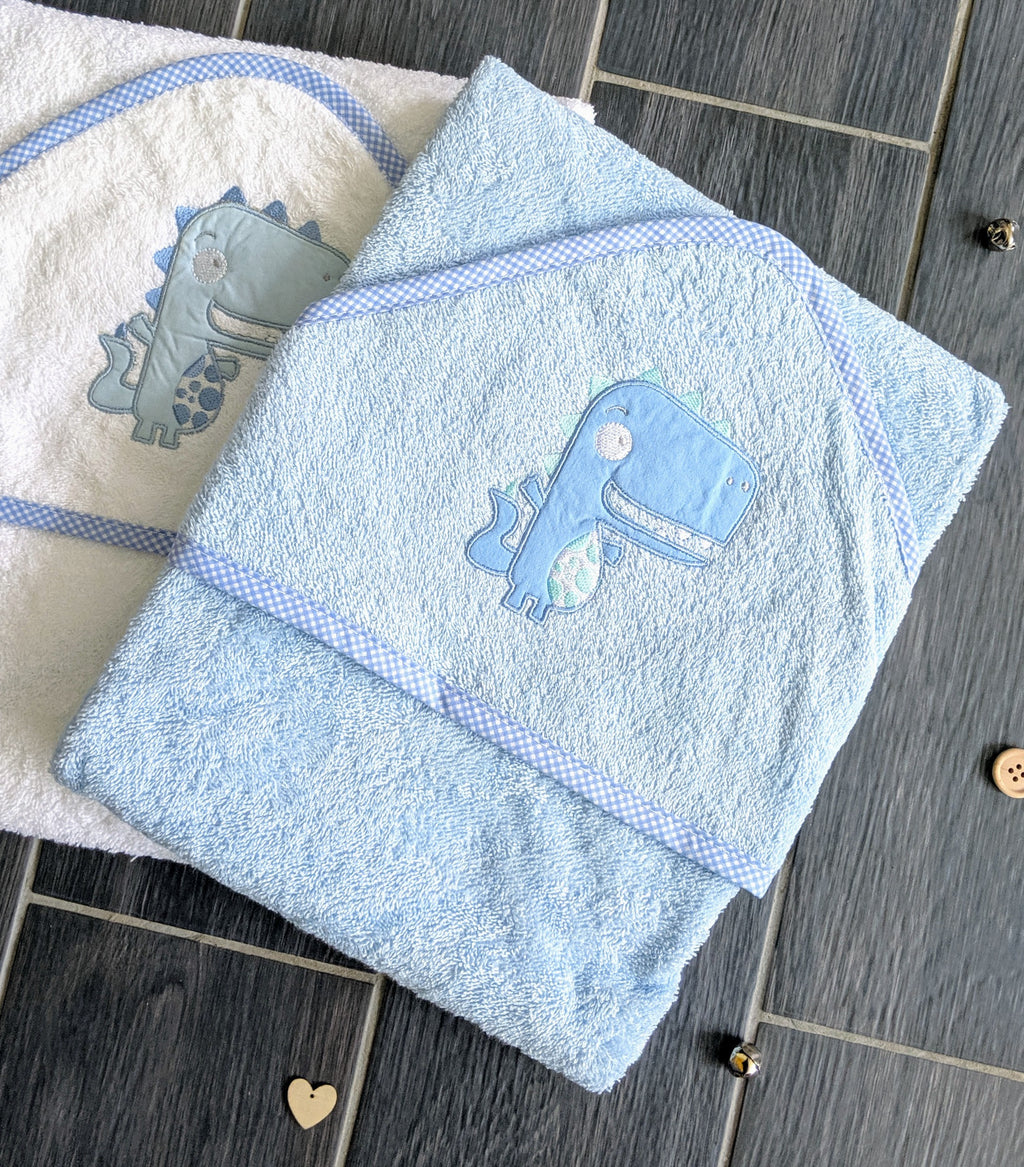 blue dinosaur hooded bath towel with gingham blue trim, newborn bath essentials, newborn gift, baby gift.