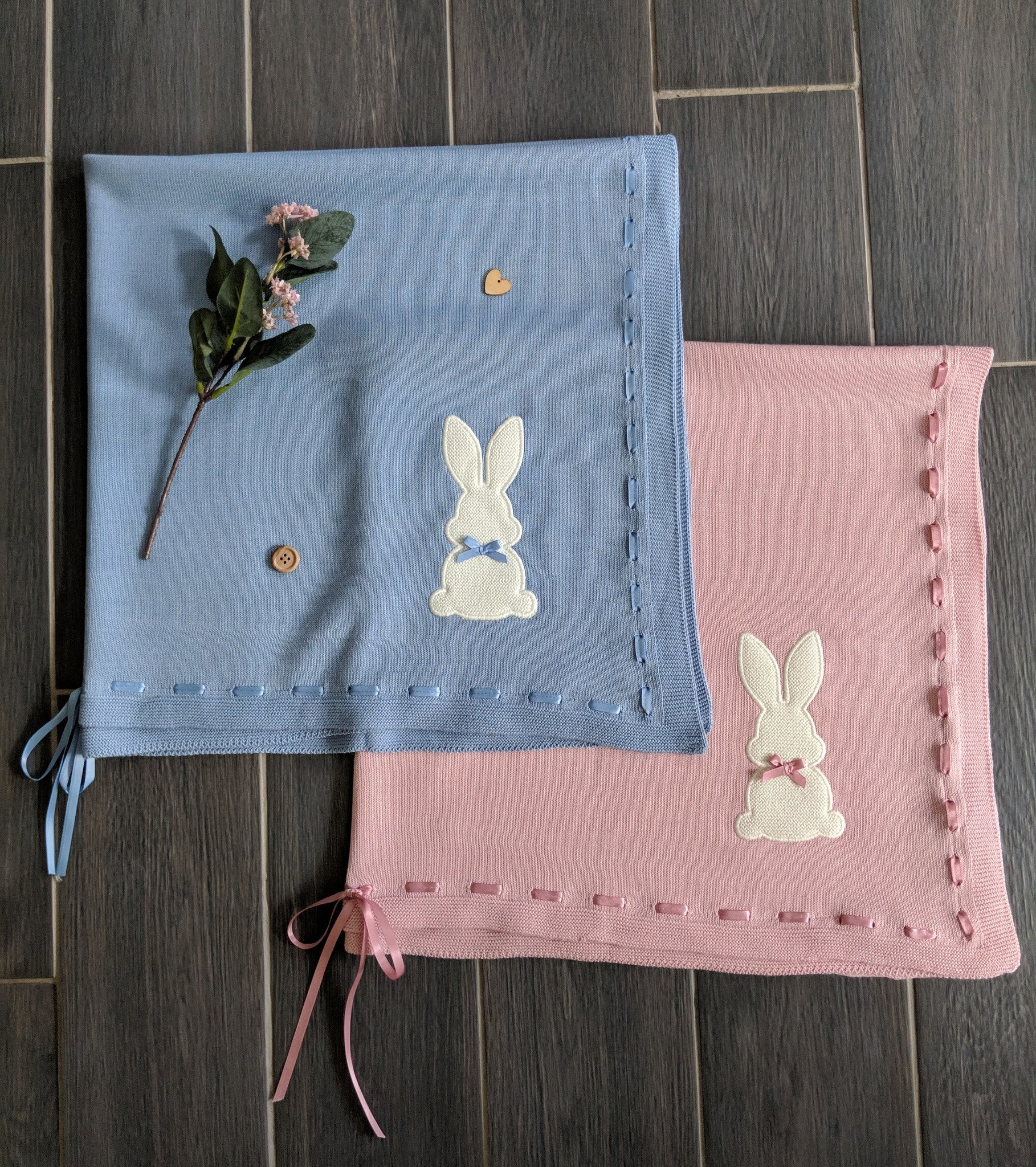 Beautiful baby shawls. Super find knit, perfect for spring/summer. Complete with bunny motif and monogram.