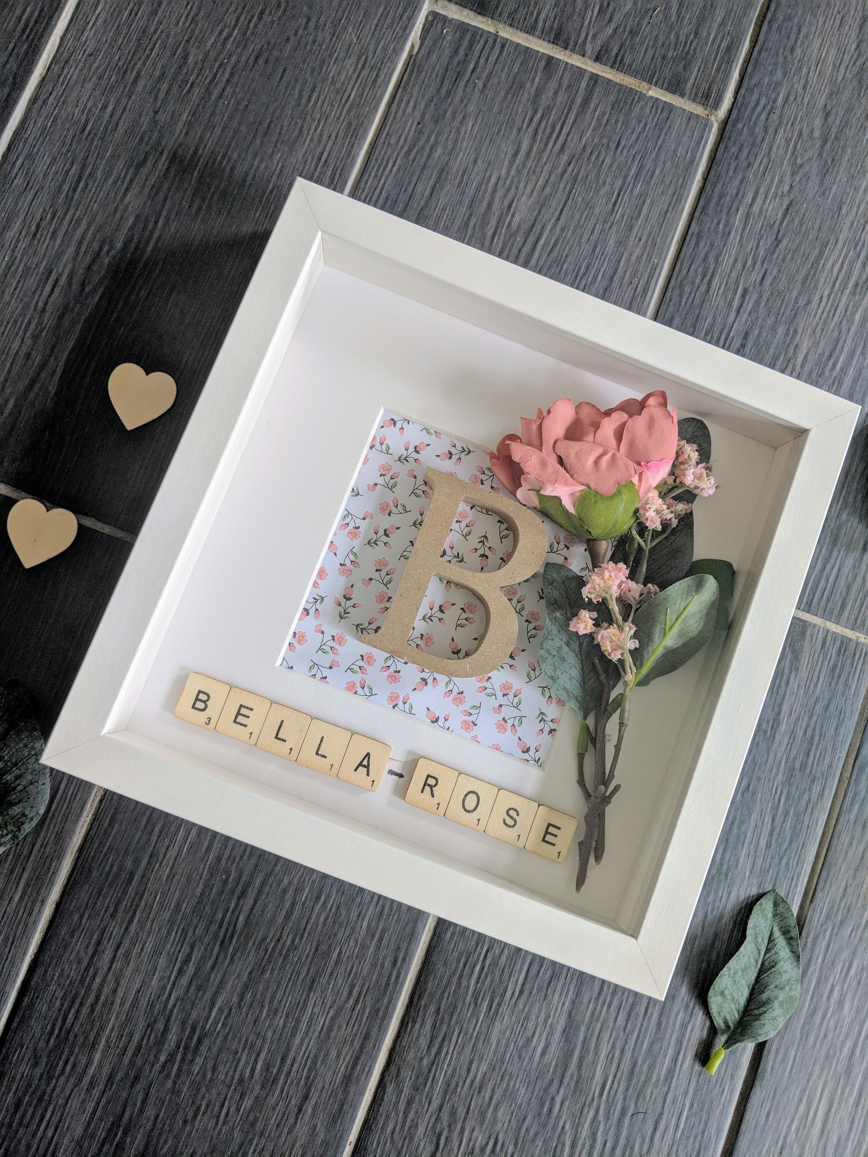 Wooden Initial, floral detail, frame decor. Handcrafted and personalised with scrabble tiles