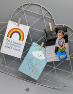 cloud motif metal wire photo and card rack, grey colour, scandi nursery design, held by pegs