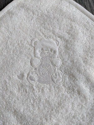white hooded baby bath towel for newborn baby boy and girls, newborn gift, baby bath towel accessory.