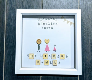 hand crafted family frame to represent each member of the family.