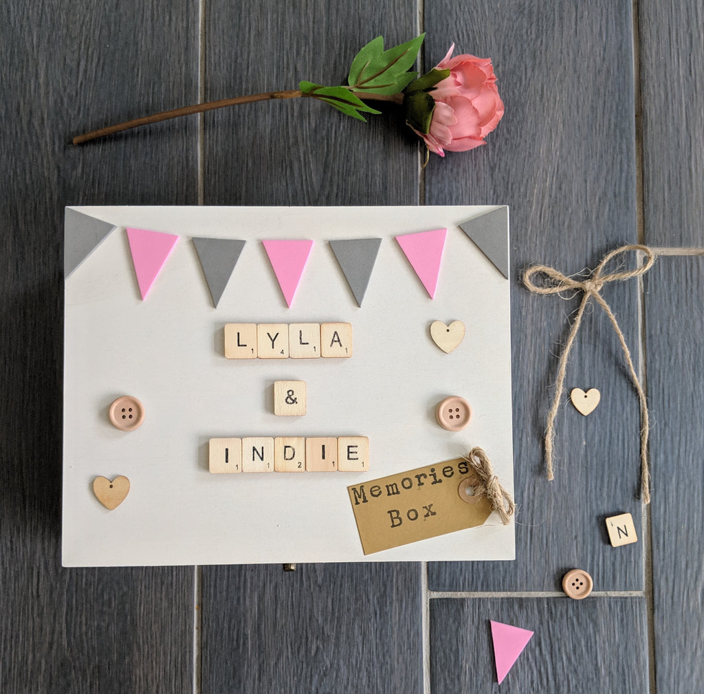 wooden memory and photo box, hand painted with hand crafted bunting and wooden embellishments, includes kraft from tag