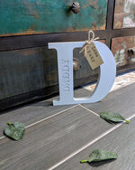 Freestanding Wooden Letter, father's day gift for Daddy. Handpainted wood gift with from tag