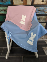 Beautiful baby shawl available in pink and blue. Bunny motif and monogrammed. Gorgeous gift