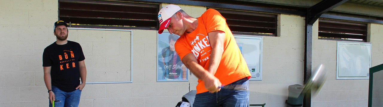 Bunker Mentality Graphic Golf T-Shirts - Orange T with Good For The Soul