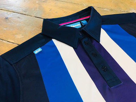 Bunker Mentality Five Stripe Polo Shirt - Shoulder Tab Close Up