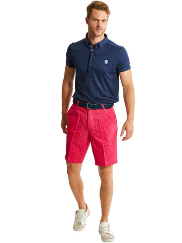 Bunker Mentality Pink Kade Paisley Golf Shorts Outfit with Navy Polo Shirt