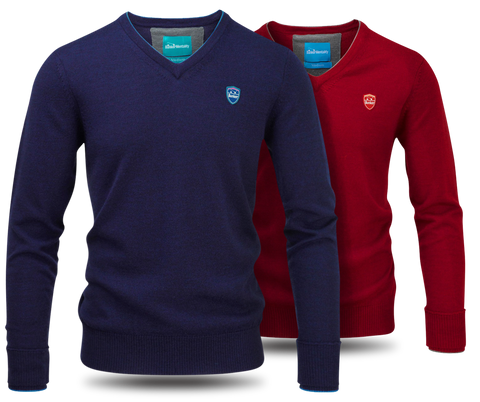 Bunker Mentality Merino Wool Golf Sweaters - Red and Navy