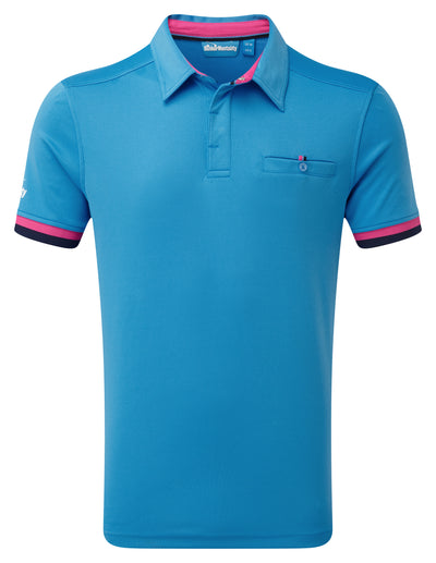 Bunker Mentality Cmax Blue Mens Golf Shirt with contrast Pink and Navy tipping - Front