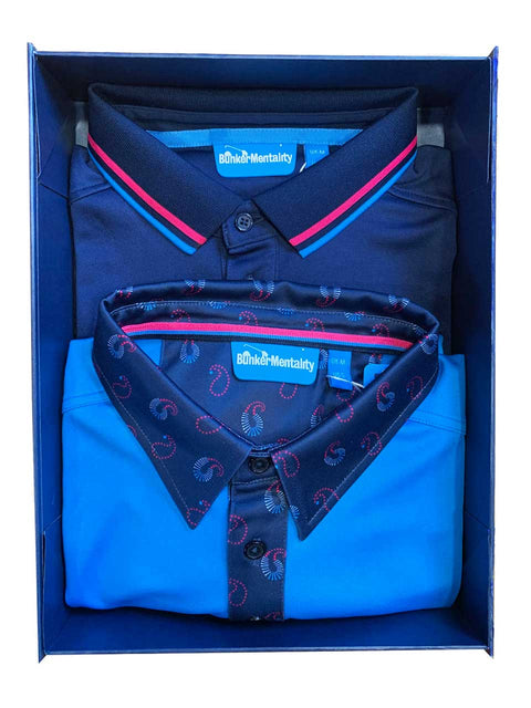 Bunker Mentality Christmas Gift Pack 5 - Blue polo shirt with paisley pattern pocket and collar,