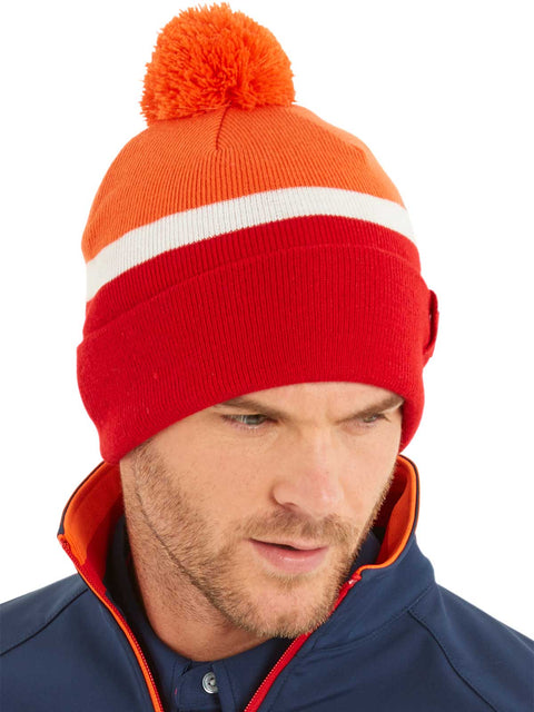 Bunker Mentality 2 Tone Red Mens Golf Bobble Hat Orange White Stripe on Model