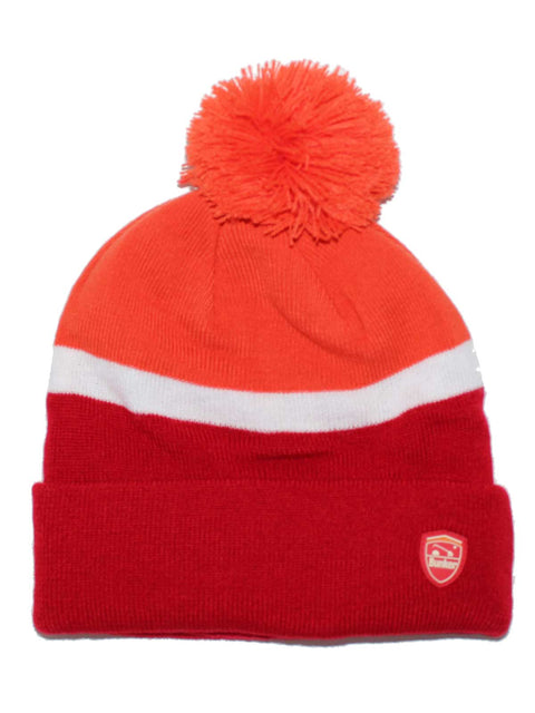 Bunker Mentality 2 Tone Red Mens Golf Bobble Hat Orange White Stripe