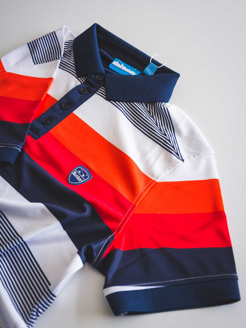 Cmax Bold Stripe Golf Polo Shirt - Orange